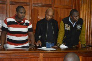 Three suspects Peter Njoroge Kinyanjui, Chris Muriuki Waithaka and Maureen Kanyi Magiri who denied conspiring to defraud Rafiki Microfinance Bank 12.2 Million shillings.